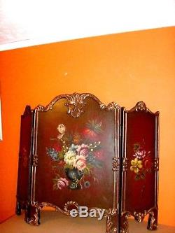 Royal Vintage French Baroque GOLD Ornate Painted Rose Panel Fold Screen Divider