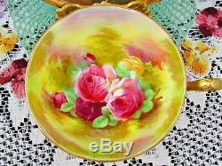 Royal Winton Painted Artist Signed Pink Roses Heavy Gold Tea Cup & Saucer
