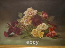 S25 Antique Oil On Canvas Painting Red Yellow Pink Roses Signed Em Baldwin 1902
