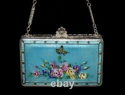 SHOWPIECE Antique ENAMEL GUILLOCHE Hand Painted BUTTERFLY & ROSES Compact