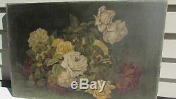 STUNNING ANTIQUE PAINTING 1800s Victorian Roses oil on canvas