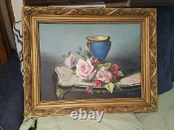 STUNNING Oil Painting of Pastel PINK ROSES in a Vase on Canvas Vintage Signed