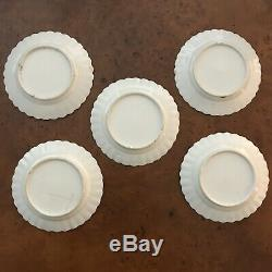 Set of 5 Rose Medallion Enamel Painted Butterfly Scalloped Plates 6 Inch