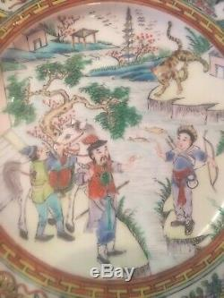 Set4 Exquisite Antique Chinese Export Famille Rose Hand Painted Porcelain Plates