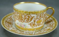 Sevres Style Hand Painted Pink Roses Gold Scrollwork Raised Gold Roses Tea Cup