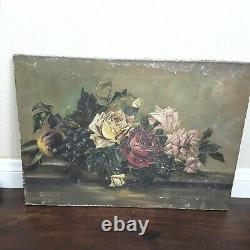 Shabby Antique Roses and fruit Still Life Oil Painting on Canvas
