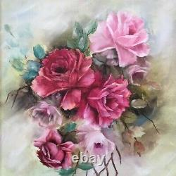 Shabby Chic Hand Painted Oil's On Canvas 16 X 20 Pink Roses Signed