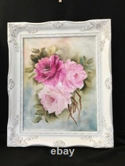 Shabby Chic Handpainted Pink Roses 11 X 14 Canvas Wife Ornate Frame
