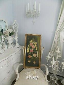 Shabby Vtg. Antique Victorian Old Falling Down Pink Roses Framed Oil Painting