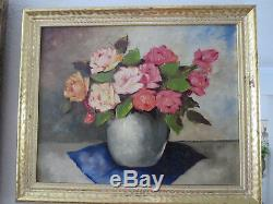 Signed Still Life Roses Flowers Glass Bowl Antique Oil Painting