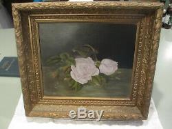Signed Victorian Rose Oil Painting Pair Gilt Wood Frames 2.5 deep Lewis 1891