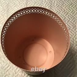 Simply Shabby Chic RARE Vintage Painted ROSES Metal Trash Can