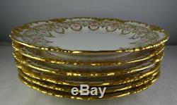 Six Gold Encrusted Antique Limoges Dessert Plates Hand Painted Roses Gorgeous