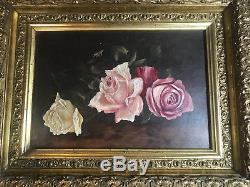 Stunning Antique M. B Hopper Still Life With Roses Oil Painting Signed/Framed