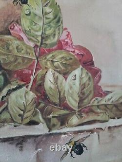 Stunning Antique Painting Of RoSeS BEES Signed