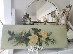Stunning Antique Painting Of Yellow Roses Signed Dated 1900