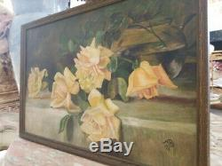 Stunning Antique Yellow Roses Oil On Board Framed Still Life Signed Painting