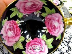 Stunning Black Aynsley Tea Cup And Saucer Cabbage Rose Teacup Painted Athens