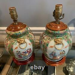Superb Matched Pair Antique CHINESE FAMILLE ROSE LAMPS Hand Painted