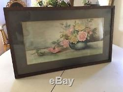 The Best Antique Watercolor Painting Pink And Yellow Roses In A Vase Orig Frame