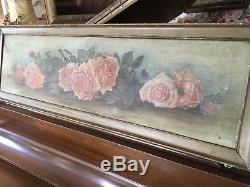 The Best antique oil painting Yard Long Pink Roses Shabby Garden Chic