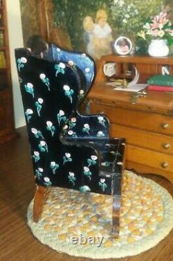 Tynietoy Antique Dollhouse Miniature Painted Wingback Chair Black With Pink Rose