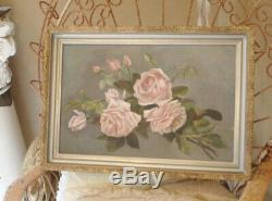 VICTORIAN 1900s Silver Gilt Frame & Pink Roses Antique Painting