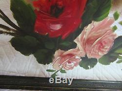 VICTORIAN vintage antique original oil PAINTING pink roses flower floral mirror