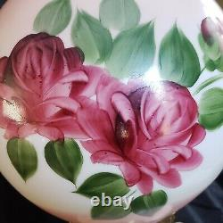 VINTAGE GONE WITH THE WIND Hand Painted GORGEOUS ROSES BANQUET LAMP 3 WAY 22,5