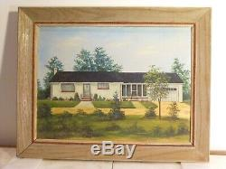 VINTAGE Mid Century Modern oil painting Rancher house rose garden lawn Signed