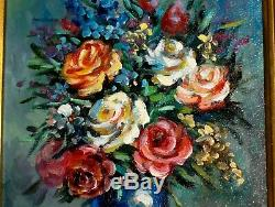VINTAGE Original Roses Leaves Bouquet Vase Beucker Old Painting Blue Red Pink