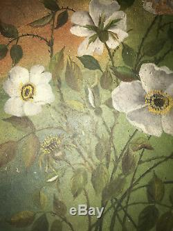 VINTAGE Victorian antique wild rose hand painted original oil PAINTING flower