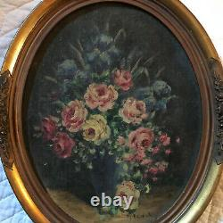 VINTAGE roses floral flower original hand painted oil PAINTING signed