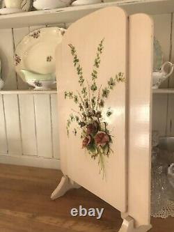 VINTAGE very OLD PAINTED Firescreen FLOWERS Floral ROSES SHABBY COUNTRY CHIC