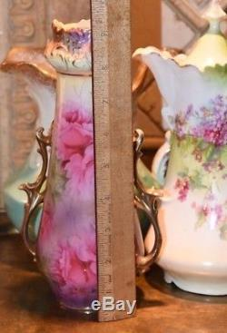 Vase Cabbage Roses Hand Painted Vintage Antique Royal Vienna Gold Crown Mark 9