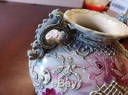 Victorian Antique Nippon Hand Painted Roses & Moriage Ornate Handled Vase MINT