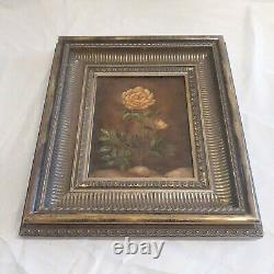 Victorian Antique Rose Roses Floral Still LIfe Oil Painting Framed 17 by 15