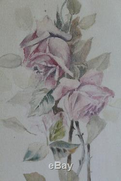Victorian Framed Beautiful Pink Roses Pencil & WaterColor Painting Antique