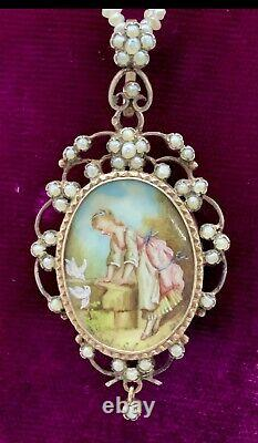 Victorian French Rose Gold over Silver Hand Painted Portrait Pendant Locket
