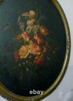 Victorian Painting Of Flowers Antique Frame, Large