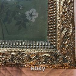Victorian antique rose floral hand painted original oil PAINTING flower
