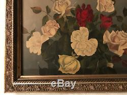 Victorian antique rose flower floral hand painted original oil PAINTING Vintage