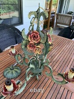 Vintage 1920s Italian Tole Metal 4 Arm Chandlelier Roses Painted