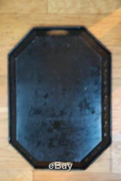 Vintage Antique Black Tole Tray Roses Handles Metal Tin Hand Painted French