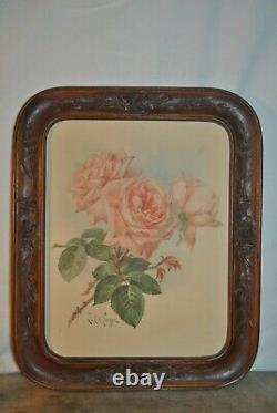 Vintage / Antique Lot Of 2 Wooden Picture Frames Hand Carved Roses, No Glass