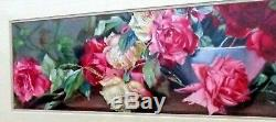 Vintage/Antique Yard Long Painting Newly Framed Roses Red Double Mat Glass