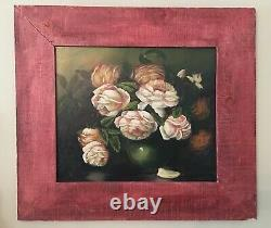 Vintage Country Cottage Rose Original Painting, Rustic Farmhouse Shabby Floral