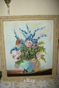 Vintage Floral Oil Painting Poppies Ornate MCM French Frame Roses Chic Shabby