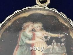 Vintage Georgian Mourning Pendant Hand Painted Under Glass 2 Women Roses