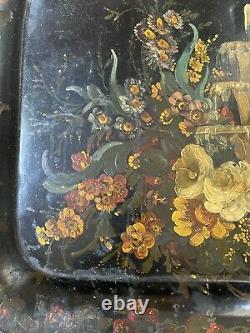 Vintage Hand Painted Roses fountain Flower Antique Black Oval Toleware Tray